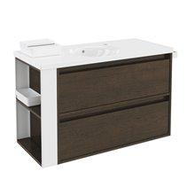 Meuble chêne chocolat/blanc avec plan vasque en porcelaine 100 cm avec 2 tiroirs B-Smart Bath+