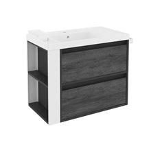 Meuble Anthracite/Blanc avec plan vasque en résine 80 cm avec 2 tiroirs B-Smart Bath+