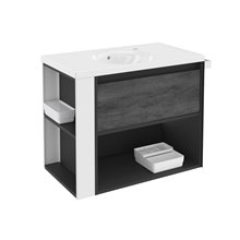 Meuble Anthracite/Blanc avec plan vasque en porcelaine 80 cm B-Smart Bath+