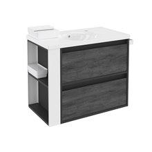 Meuble Anthracite/Blanc avec plan vasque en porcelaine 80 cm avec 2 tiroirs B-Smart Bath+