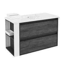 Meuble Anthracite/Blanc avec plan vasque en porcelaine 100 cm avec 2 tiroirs B-Smart Bath+