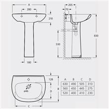 Lavabo pour colonne ou demi-colonne Zoom Roca