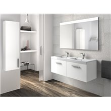 Meuble avec plan vasque double deux tiroirs blanc Prisma Roca