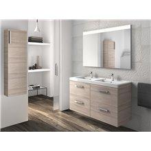 Pack meuble avec plan vasque double quatre tiroirs frêne Prisma Roca