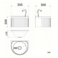 Plan vasque semi-circulaire automatique mural NOFER