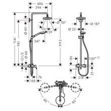Colonne de douche avec mitigeur Croma Select S Hansgrohe