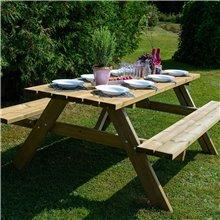 Table pique-nique en bois 160x148x70cm Gardiun