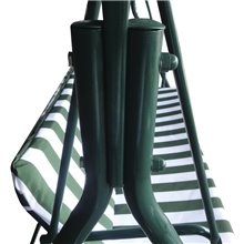 Balancelle de jardin avec parasol vert et blanc...