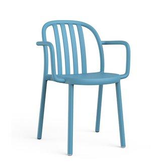 Lot de 2 chaises bleu rétro avec accoudoirs Lama Resol