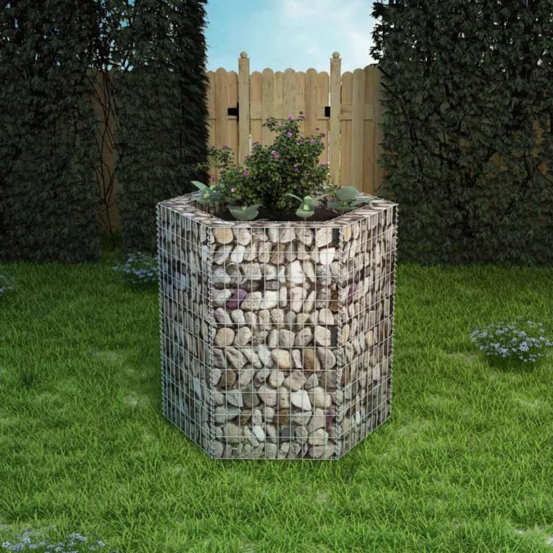 vidaXL Lit surélevé à gabion hexagonale 100x90x100 cm