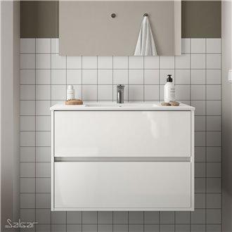 Meuble 91 cm blanc brillant 2 tiroirs Noja Salgar