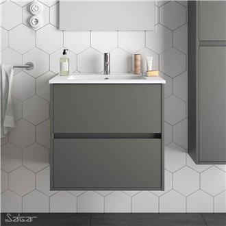 Meuble 71 cm gris mat 2 tiroirs Noja Salgar