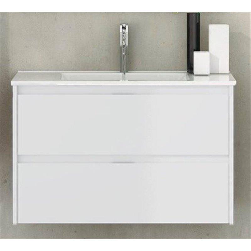 Meuble avec plan vasque de profondeur réduite 60 blanc brillant Ibiza Tegler