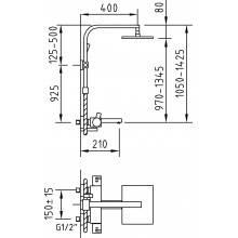 Colonne de douche thermostatique pour salle de bains Bimini