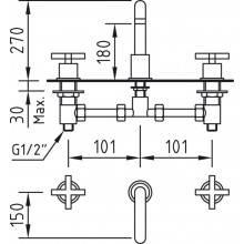 Robinet de lavabo mélangeur manuel de rebord en batterie au bec courbé série Morea