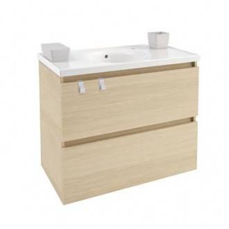 Meuble avec plan vasque en porcelaine 80 cm Chêne nature B-Box Bath+
