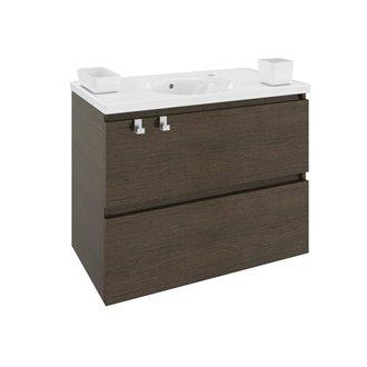 Meuble avec plan vasque en résine 80 cm Chêne chocolat B-Box Bath+