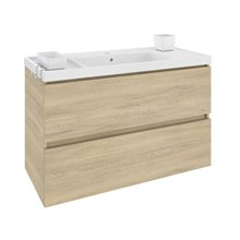 Meuble avec plan vasque en résine 100 cm Chêne nature B-Box Bath+