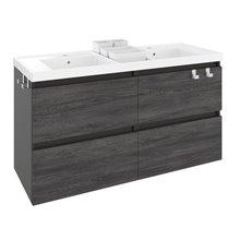 Meuble avec plan vasque en résine avec 2 bacs 120 cm Anthracite B-Box Bath+