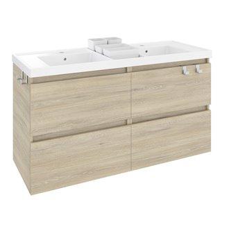 Meuble avec plan vasque avec 2 bacs en résine 120 cm Chêne nature B-Box Bath+