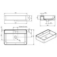 Vasque à poser rectangulaire Sanlife 60 x 40 (avec perçage) Sanindusa
