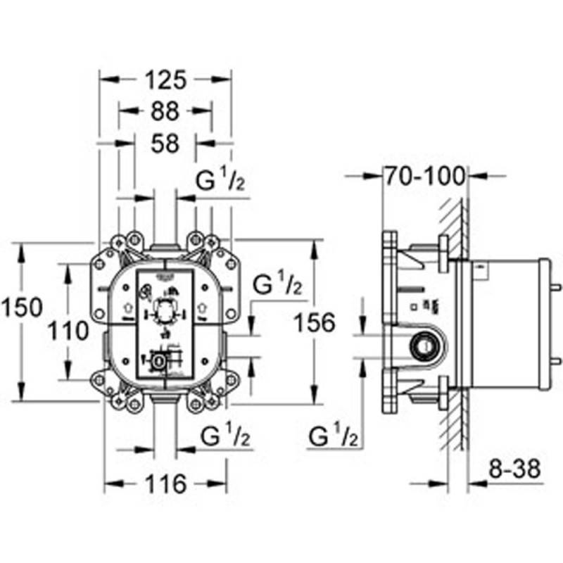 robinet mitigeur de douche grohe veris circular 19367000. Black Bedroom Furniture Sets. Home Design Ideas
