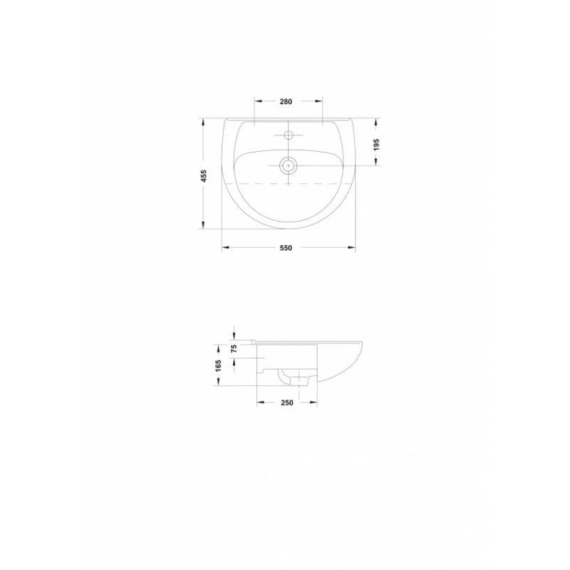 Lavabo Gala Elia.Vasque Semi Encastree Gala Elia 55 X 45 5 Cm