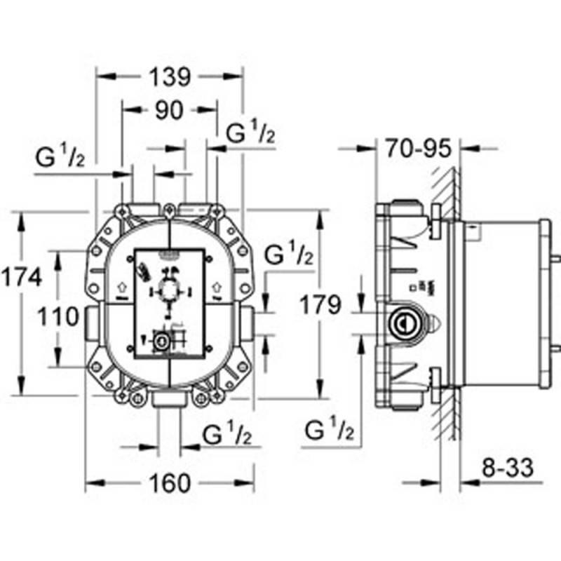 robinet thermostatique de douche grohe atrio 19394000. Black Bedroom Furniture Sets. Home Design Ideas