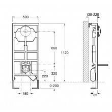 Bâti-support avec réservoir Duplo WC bouton-poussoir -E Roca