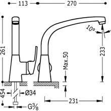 Robinet d'évier droit chromé ECO-TRES