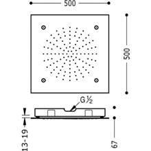 Pomme haute de douche plafond nébulisation 2 positions TRES 50 x 50