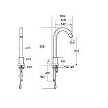 Robinet de lavabo bec haut alimentation réseau électrique Loft Roca