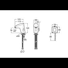 Robinet de lavabo alimentation piles M2 Roca