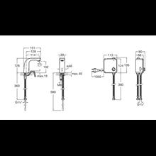 Robinet de lavabo réseau électrique eau pré-mélangée L20 Roca