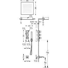 Kit de baignoire-douche thermostatique 2 voies RT CUADRO-TRES