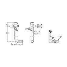 Robinet d'urinoir avec tubulure et poignée Aqua...