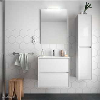 Meuble 60 cm blanc brillant 2 tiroirs Noja Salgar