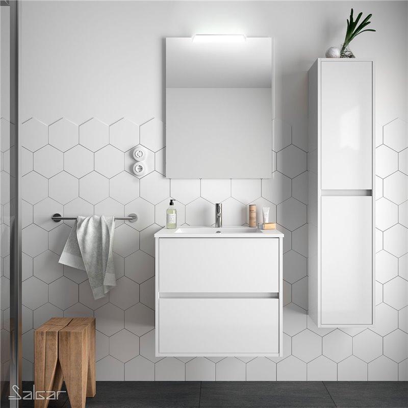 Meuble 71 cm blanc brillant 2 tiroirs Noja Salgar