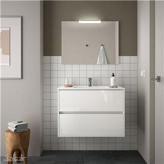 Meuble 81 cm blanc brillant 2 tiroirs Noja Salgar