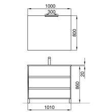 Meuble 100 cm Gris mat 3 tiroirs SALGAR ARENYS