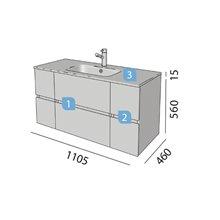 Meuble 25 + 60 + 25 cm 2 tiroirs Fussion Line Salgar