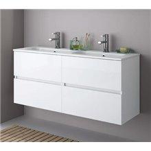 Meubles 60 + 60 cm blanc brillant 4 tiroirs Fussion Line Salgar