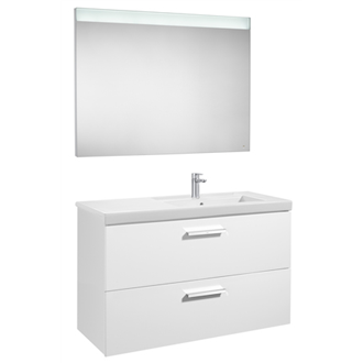 Pack meuble 110 cm deux tiroirs blanc brillant Prisma Roca
