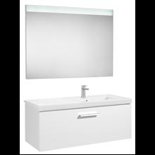 Pack meuble 90 cm un tiroir blanc brillant Prisma Roca