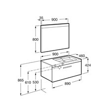 Pack meuble 90 cm un tiroir gris anthracite Prisma Roca