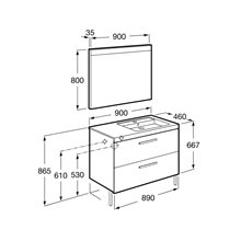 Pack meuble 90 cm deux tiroirs gris anthracite Prisma Roca