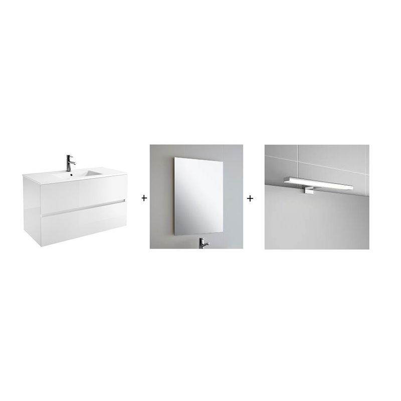 Ensemble pour salle de bains blanc brillant 800 Fussion Line Salgar