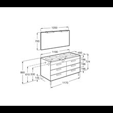 Pack meuble gris 120 cm 6 tiroirs Debba Roca
