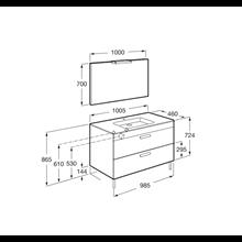 Pack meuble gris 100 cm 2 tiroirs Debba Roca