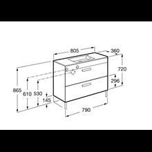 Meuble gris 80 cm compact 2 tiroirs Debba Roca